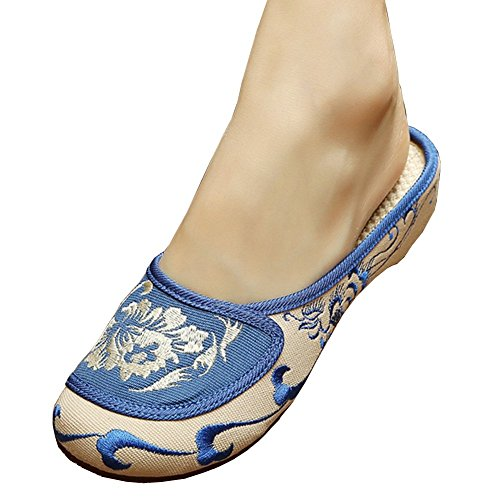 Fereshte Womens Blue and White Porcelain Print Flat Slippers Beige EU 39 - US 8 (Dance Costumes From China)