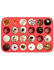 Mini Muffin Pan- Silicone Nonstick Cupcake/Muffin/Brownie Reusable Baking Tray- Microwave, Oven, Freezer, and Dishwasher Safe (24 Cups) by Chef Buddy