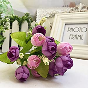 15 Branch Heads Vintage Artificial Silk Fake Flowers Leaf Rose Wedding Floral Decor Bouquet (Pink) 1