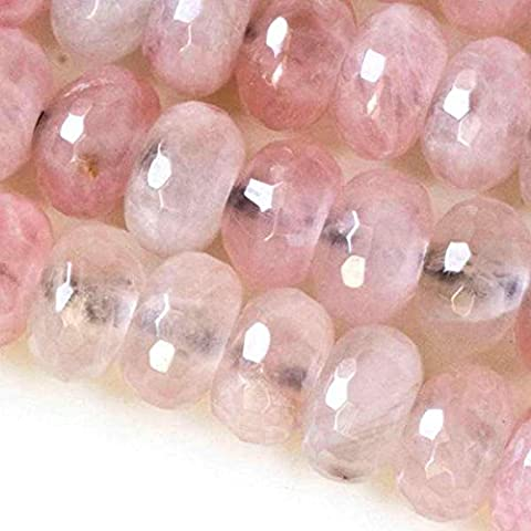 Cherry Blossom Beads Faceted Large Hole Rose Quartz 8x12mm Rondelle with a 2.5mm Drilled Hole - 8 Inch (Beads Large Assortment)