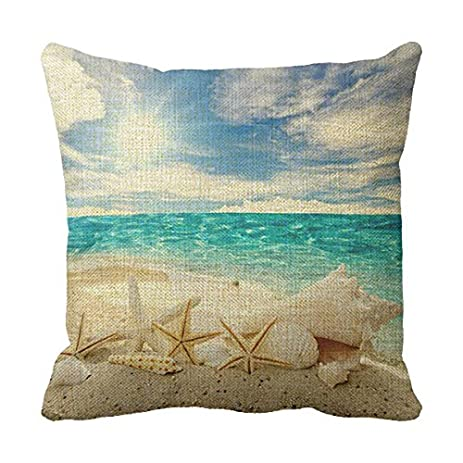 Amazon LetterT Beach Decorative Pillows For Sofa Seashells Mesmerizing Seashell Pillows Decorative