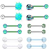 SCERRING 6 Pairs 14G Stainless Steel Soft Silicone Clear Acrylic Skull Glow in Dark Teaser Tongue Nippleings Ring Body Piercing Jewelry Retainer Rainbow
