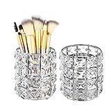 Feyarl 2pcs Crystal Beads Makeup Brush Holder