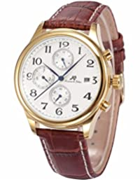 KS Mens Automatic Mechanical Watch Date Day Month Display Gold Case Brown Leather Strap KS155