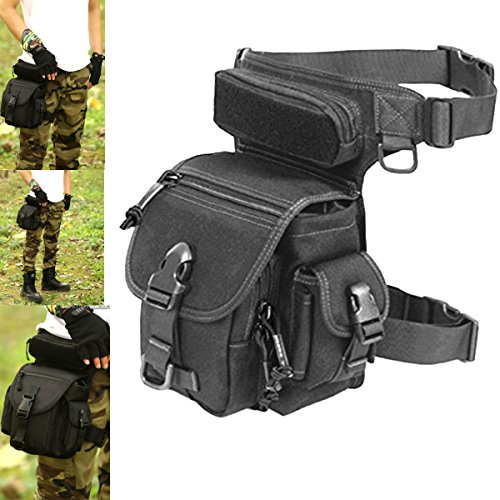 Utility Pack Waist Pouch (LarKoo Outdoor Gear Military Tactical Drop Leg Panel Utility Pouch Thigh Leg Waist Bag Pack Motorcycle Outdoor Bike Cycling Riding Thermite Versipack Satchel for 7.9 inches Tablet PC (Black))