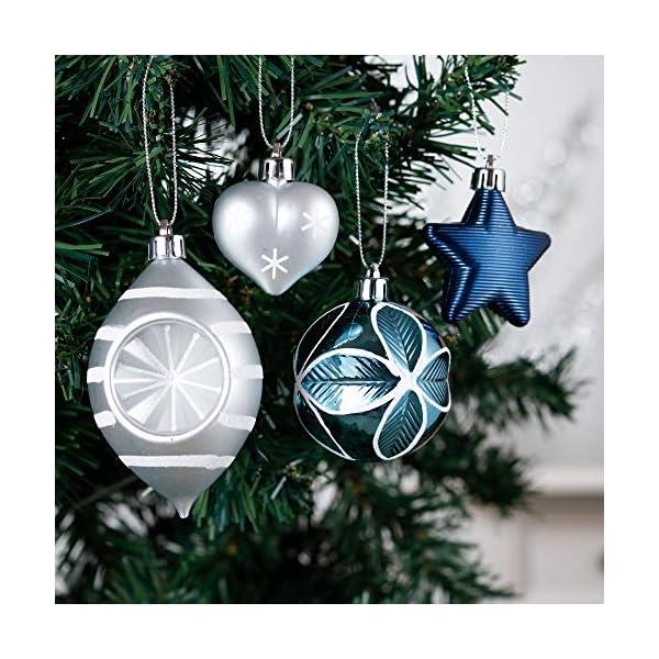 Valery Madelyn Palle di Natale 70 Pezzi di Palline di Natale, 3-10 cm Auguri Invernali Argento e Blu Infrangibili Palle di Natale Ornamenti Decorazione per la Decorazione Dell'Albero di Natale 4 spesavip