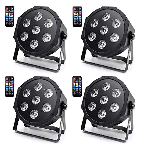 U`King 7X10W LED Par Light RGBW Stage Lighting Effects Par Can Strobe Lights with 7CH by Remote DMX Auto Sound Activated Control Uplight for Party Wedding Christmas Club Shows (4 Pack)