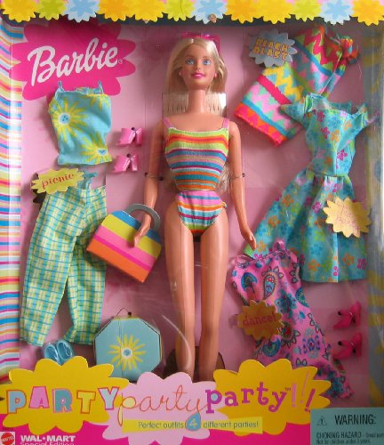 Party Party Party Barbie Doll w 4 Outfits - Wal Mart Special Edition (2001) (Aqua Barbie Shoes)