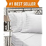 Elegant Comfort Egyptian Quality Luxurious Wrinkle Resistant 6-Piece Damask Stripe Bed Sheet Set, Queen White