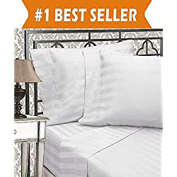 Elegant Comfort Best, Softest, Coziest 6-Piece Sheet Sets! - 1500 Thread Count Egyptian Quality Luxurious Wrinkle Resistant 6-Piece DAMASK STRIPE Bed Sheet Set, California King White