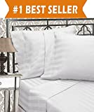Elegant Comfort Best, Softest, Coziest 6-Piece Sheet Sets! - 1500 Thread Count Egyptian Quality Luxurious Wrinkle Resistant 6-Piece DAMASK STRIPE Bed Sheet Set, Queen White