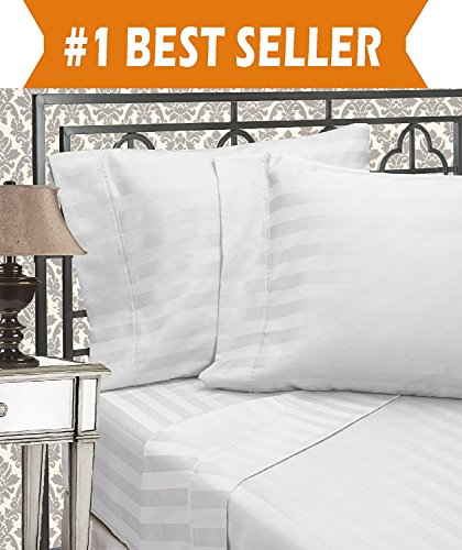 Elegant Comfort Best, Softest, Coziest 3-Piece Duvet Cover Sets! - 1500 Thread Count Egyptian Quality Luxurious Wrinkle Resistant 3-Piece DAMASK STRIPE Duvet Cover Set, King/Cal-King, White