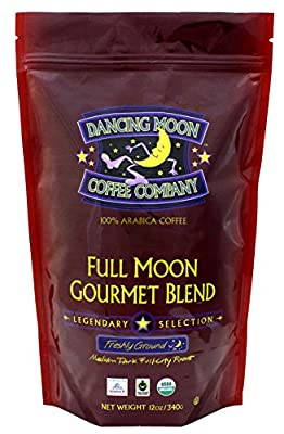 Dancing Moon Full Moon Gourmet Blend Freshly Ground Organic Fair Trade Coffee, 12 Ounces