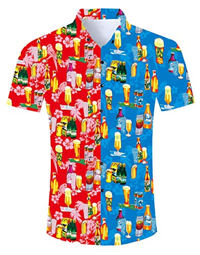Fanient Mens Casual 3D Geometric Pattern Aloha Shirts Beer Print Short Sleeve Casual Holiday Button Down Tshirt X-Large