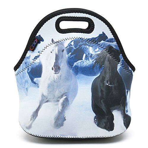 (ICOLOR Running Horse Boys Insulated Neoprene Lunch Bag Tote Handbag lunchbox Food Container Gourmet Tote Cooler warm Pouch For School work Office)