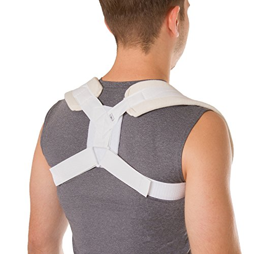 BraceAbility Figure 8 Clavicle Brace & Posture Corrector | Broken Collarbone Sling for Injuries & Fractures, Shoulder Support Strap for Upper Back Straightening (Medium)