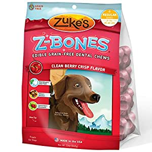 Zuke's Z-Bones Clean Berry Crisp Regular Dental Chew Dog Treats - 8 ct. Pouch