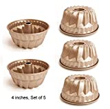 BAKER DEPOT 4 inch Non-Stick Bundt Pan Carbon Steel Kugehopf Mold Champagne Color Set of 5 Easy to Release