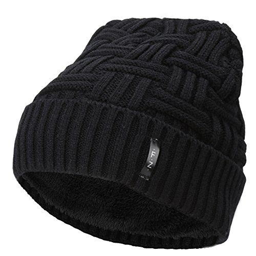 Classic Striped Hat (Fantastic Zone Beanies Skull Caps Striped Knit Skull Caps Beanie Winter Hats For Men Black One Size)