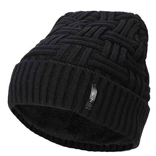 Fantastic Zone Beanies Skull Caps Striped Knit Skull Caps Beanie Winter Hats For Men Black One - Caps Thermal