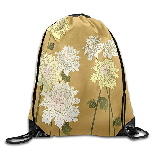 Dicobrune Unisex Drawstring Backpack, Indian Brushwork Blooms Ornate Eastern Stylized Boho Drawstring Gym Sack Sport Bag