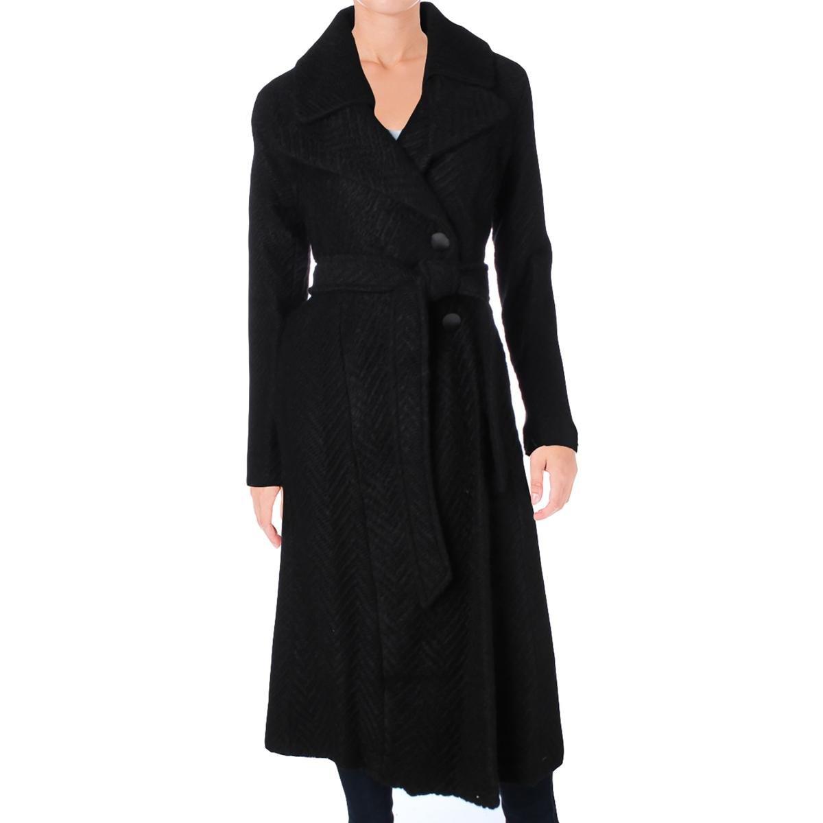 Nanette Lepore Women's Knit Herringbone Fold Over Notch Collar Maxi Coat, Black, Small