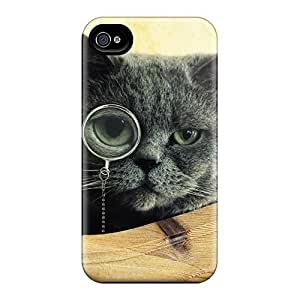 First-class Case Cover For Iphone 4/4s Dual Protection Cover Monocle Cat