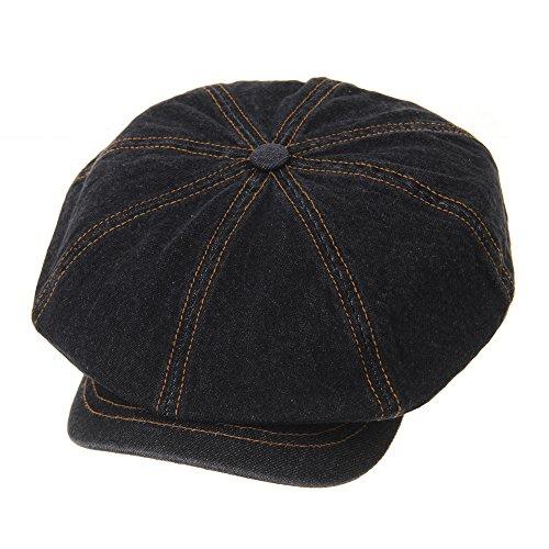 WITHMOONS Denim Cotton Newsboy Hat Baker Boy Beret Flat Cap KR3613 (Black)