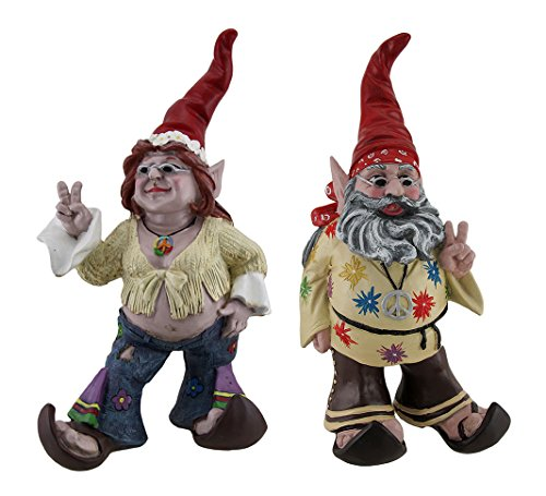 Cheap Peace and Makelove Gnotwar Pair of Hippie Garden Gnomes 15 Inch Statues Red Hats