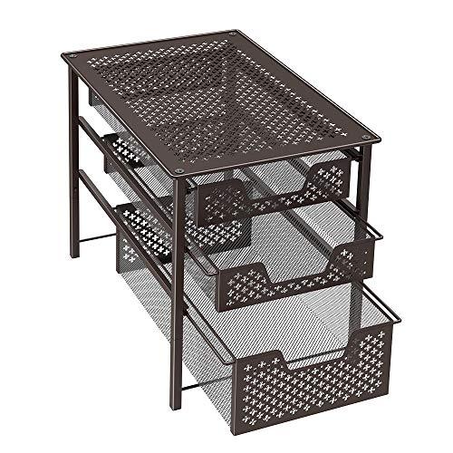 NEX 3 Tier Sliding Basket Cabinet Organizer Stackable Brown ()
