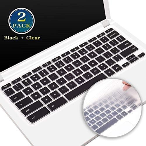 2 Pack Acer Chromebook R11 Keyboard Cover Skin for Acer Chromebook 11 CB3-132 CB3-131 CB311 C720 C732 Series Chromebook R11 CB5-132T C738T Series Acer Chromebook R13 CB5-312T(Black+Clear)