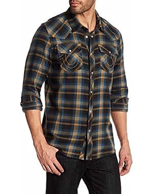 Long Sleeve Slim Fit Plaid Western Shirt