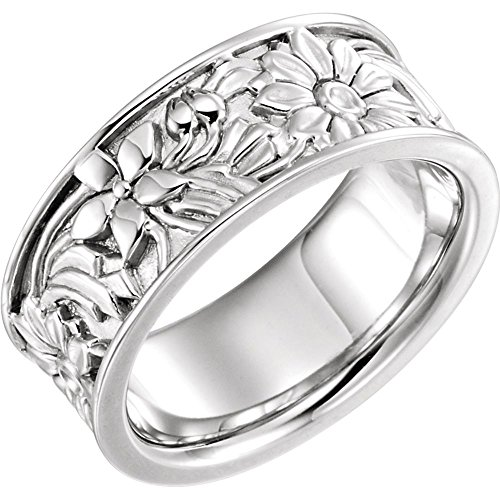 (Beautiful White gold 10K Floral-Inspired Motif Band)