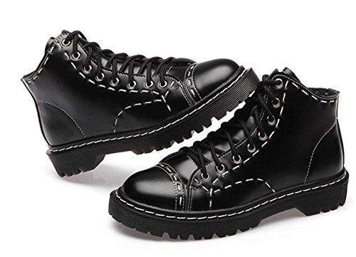 Hiver Cheville Cuir BLACK Bas Femmes air Noir L'automne Chaussures Plein Lacer Épais Appartement NVXIE Bottes Style Britanique Faible De EUR40UK7 Loisir Talon 5Z8AxRP