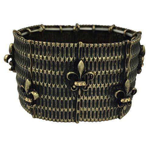 Basketweave Earrings Jewelry - Gypsy Jewels Fleur De Lis Silver Tone & Gun Metal Designer Look Hammered Stretch Bracelet (Basketweave Gold Tone)