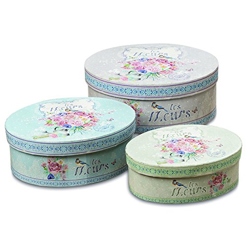 The French Country Flowers Elongated Rounds Stackable Box Set of 3, for Gifts, Storage and Decorative, Les Fleurs Antiqued Style, Multi Color, from 7 1/2 - 9 1/2 Inches, By Whole House Worlds