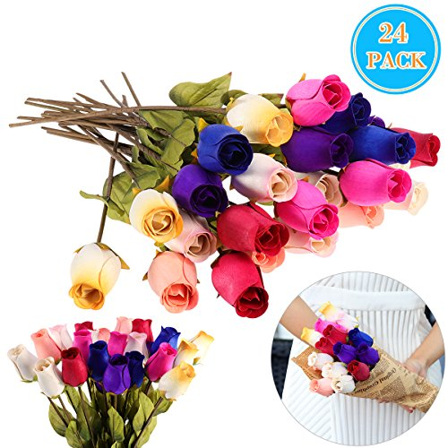 Wood Wooden Roses (WINOMO 24pcs Wooden Rose Flowers with Stems Colorful Artificial Flowers Bouquet)