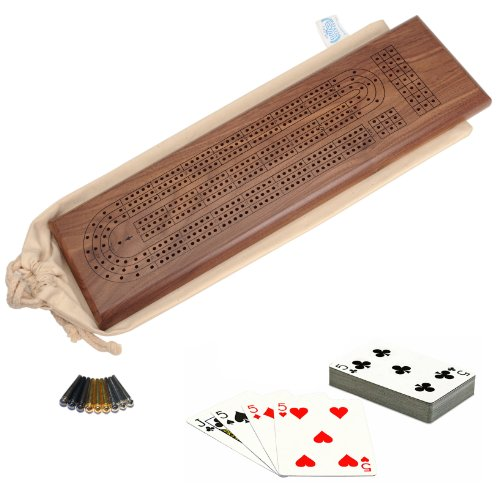 WE Games Deluxe Cribbage Set - Solid Walnut Wood Continuous 3 Track Board with Easy Grip Pegs, Deck of Cards & Canvas Storage Bag by WE Games