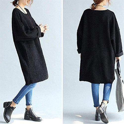 Nuan Jia Feng El otoño y el invierno de la sección larga de lana de oveja yardas grandes de grasa MM blusa cómoda literaria , pink , average Black