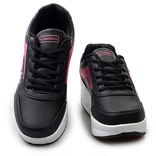 Ausom Womens Shap Ups Schoenen Platform Wiggen Toning Schoenen Wandelen Fitness Uitsnijden Sneaker Zwart