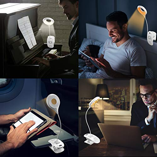 HOTERB Eye Protection Reading Light, 22 LEDs Book Light Dimmable with 3 Color, Amber Clip on Light Flexible Neck Suitable for Reading in Bed, Rechargeable Touch Control Reading Lamp for Kids