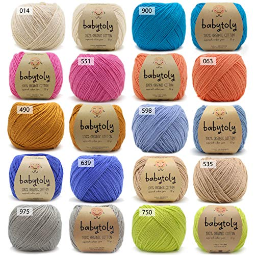 10 Skein (Pack) 100% Organic Cotton GOTS Certified Yarn Each 1.76 Oz (50g) / 115 Yrds (105m) Super Soft, Pure Natural Eco Baby Fiber, Organic Cotton Yarn, DK Medium Worsted