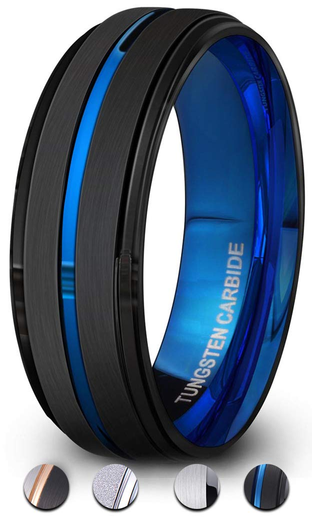 PINONLY Tungsten Carbide Rings Men Wedding Bands Women Tungsten Engagement Promise Black Blue Rose Gold 8mm 6mm Comfort Fit Engraved PINONLY Tungsten Ring
