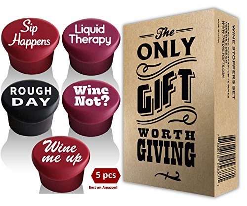 5 Wine Stoppers + Gift Box - Perfect Wine Gift Accessory, Set of 5 Funny Silicone Wine Reusable Caps Stoppers for Wine and Beer Bottles - Vinaka Wine Stoppers
