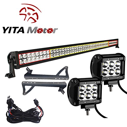 YITAMOTOR JK Jeep Wrangler 52 inch and LED Light Bars with Mounting Brackets and Wiring