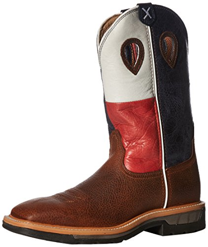 Twisted X Men's Lite Texas Flag Pull-On Work Boot Square Toe Brown 13 D(M) US