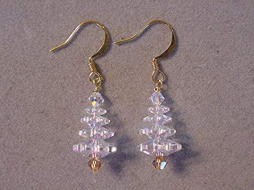 Gold Swarovski Crystal Christmas Tree Earrings gold plated Crystal AB Christmas Jewelry