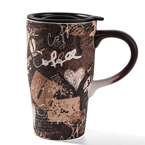 Minigift Lover Mugs(Color: Blue&Coffee) Ceramic Travel Coffee Mug 17oz(11 Designs for choiceVintage Coffee)