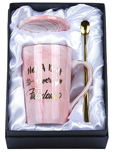 Women Gifts - Not A Day Over Fabulous Coffee Mug with Gift Box- Perfect Birthday Christmas and Retirement Gift Ideas for Women,Female Boss,Her, Best Friend, Mom, Wife, Sisters, Grandma, Coworkers