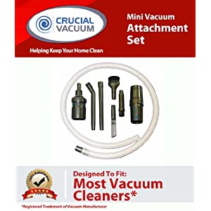 Mini Micro Tool Attachment Set Fits ALL Vacuum Cleaners; Perfect for Hard-To-Reach Areas - Office Equipment, Computers, Car Detailing, Stereo Equipment, Video Equipment, Typewriters, Auto Interiors, Sewing Machines and more; Designed & Engineered By Crucial Vacuum